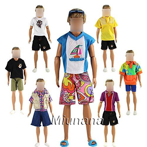 Preisvergleich Produktbild Sommer 3 Herren T-Shirt + 3 Basketball Beach Sport Mann-Sommer-Hosen-Hose für Barbie Puppen KEN