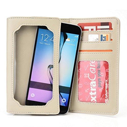 Kroo Portefeuille unisexe avec LG G3dual-lte/Intuition ajustement universel différentes couleurs disponibles avec affichage écran beige beige