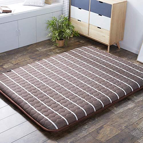 XFF Thicken, colchón tipo futón, transpirable, de piso japonés, cama plegable con tapete de tatami, cama enrollable, azul, 150X200Cm (59X79Inch) / Marrón / 150x190cm(59x75inch)