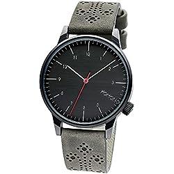 Komono Winston Brogue Charcoal Men's Quartz Watch with Black Dial Analogue Display and Grey PU Strap KOM-W2014