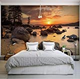 WH-PORP 3D Tapete Natur Landschaft Sonnenuntergang Nightfall River Scenery Fototapete Für Schlafzimmer Wohnzimmer Wand-Dekor Vlies Customized 3D Tapete-250Cmx175Cm