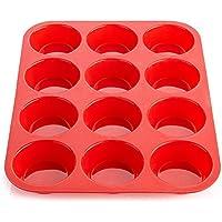 Casa Bonita Large Muffin Pans–12tazze Texas Jumbo in silicone stampo/teglia–antiaderente teglia per muffin, torte e cupcake–latta resistente al calore fino a 450F- lavastoviglie e microonde, colore: rosso - Dozzina Muffins