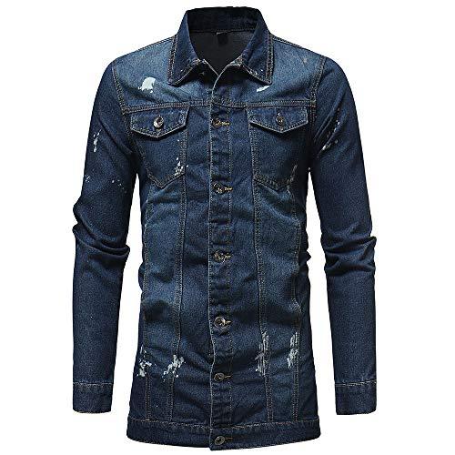 Geili Herren Jeans Jacket Biker Style Jeansjacke Vintage Washed-Out Denim Jacke Lang Sweatjacke Sweatshirt Männer Herbst Große Größen Übergangsjacke Freizeit Mantel Outwear -