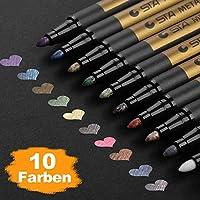 Premium Metallic Marker, DealKits 10 Farben Metallischen Stift Pens für Kartenherstellung DIY Fotoalbum Gästebuch Hochzeit Papier Glas Kunststoff Stein - MITTELBREITE SPITZE (2 mm)