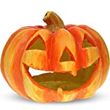 matches21 Jack O'Lantern Halloween Kürbis Windlicht 27x23 cm Herbst Halloweendeko Türkürbis Ton