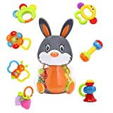 #9: RIANZ All New Cute Baby Rabbit Bottle with 8 in 1 Baby Hand Rattle - Best Birthday gift for New born and toddler