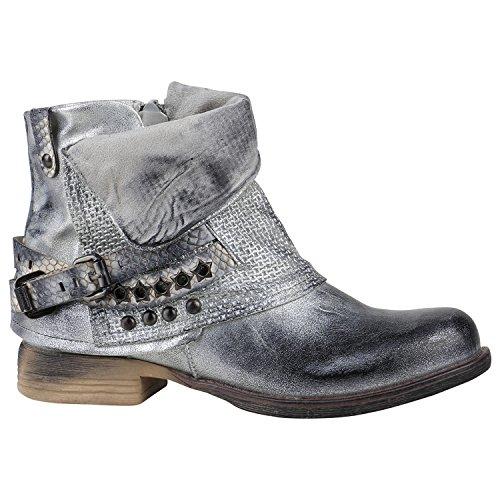 Damen Stiefeletten Leicht Gefüttert Biker Boots Schnallen Metallic Schuhe 150157 Silber Avelar 39...