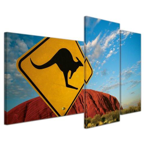 Ayers Rock (Wandbild - Ayers Rock - Australien - Bild auf Leinwand - 130x80 cm 3 teilig - Leinwandbilder - Landschaften - Nationalpark - Wüste - Berg - Symbol - Känguru)