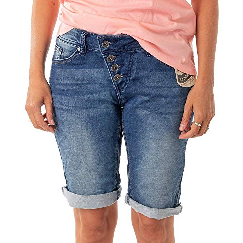 Buena Vista Damen Jeans Malibu Krempel Shorts Bermuda Hose Capri Joggpants Sweat Denim (XXS, Denim)