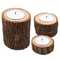 Astra Gourmet Natural Pine Wood Candle Holder Wooden Tea Light Candle Holders Succulent Planter for for Rustic Wedding, Party, Birthday, Holiday Decoration - Set of 3