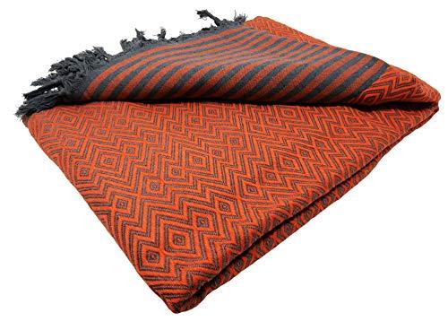bella casa KELIM LUX Tagesdecke Bettüberwurf Überwurf Plaid Baumwolle 205x260 cm (Orange)
