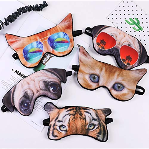 ZhaoZC 5 Stücke Augenmaske zum Schlafen 3D Augenbinde für Frauen Reisen Home Office Nickerchen Nacht Schlafen Niedlichen Tier Lustiger Schlaf Küche Blind