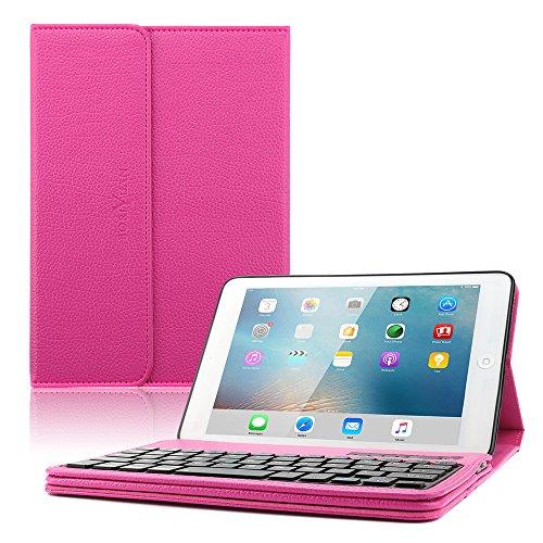 Tablet-fall Hp-10 Android (Ipad mini 1 mini 2 mini 3 Bluetooth Tastatur Hülle, Boriyuan Kunstleder Hülle mit abnehmbare Wireless Bluetooth Tastatur(QWERTZ Tastatur) für Neu Apple Ipad mini 1/2/3 - (Rot))