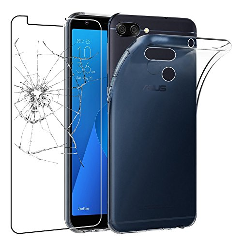 ebestStar - Asus Zenfone Max Plus M1 Hülle ZB570TL Handyhülle [Ultra Dünn], Durchsichtige Klar Flex Silikon Schutzhülle, Transparent + Panzerglas Schutzfolie [Phone: 152.6 x 73 x 8.8mm, 5.7'']