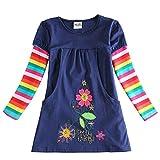 A.O.R Mädchen Kleider Sommer Langarm Baumwolle T-shirt Kleid mit Blumen,3-8 Jahre
