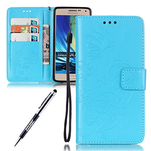 Galaxy A5 Custodia, Cover Per Samsung Galaxy A5(2015) A500 A500H A500F SM-A500F Custodia Pelle Portafoglio, JAWSEU [Shock-Absorption] Lusso 3D Goffratura Fiore Farfalla Wallet Leather Folio Case Cover Blu