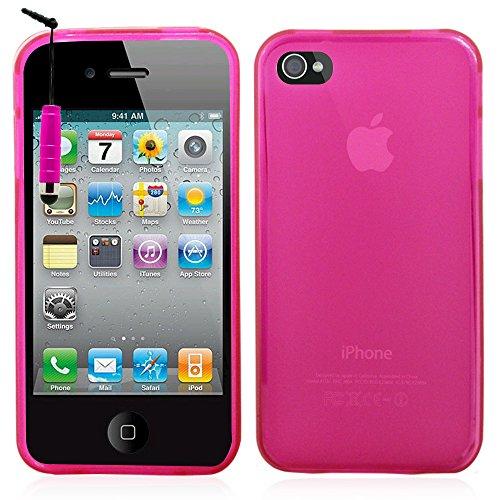 VComp-Shop® TPU Silikon Handy Schutzhülle für Apple iPhone 4/ 4S/ 4G + Großer Eingabestift - PINK PINK + Mini Eingabestift