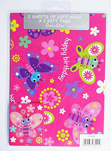 2 x Simon Elvin Geschenkpapier Geschenk Schmetterling Flower Pink Girl Happy Birthday - Supplies Mädchen 1 Birthday Party