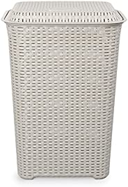 Cello Eliza Plastic Laundry Basket, 50 Liters, Light Grey