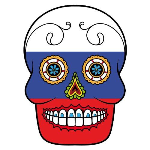 T-Shirt - Russland - Russia - Sugar Skull - Fahne - Herren - unisex Weiß