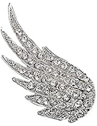 a83f12be5f4 Topdo 1 Pcs Brooch Vintage Diamond Wings Men Male Brooches Woman Brooch  Angel Wings White Crystal
