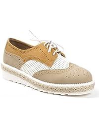 Ideal Shoes - Derbies bi-matière et perforées Delicia