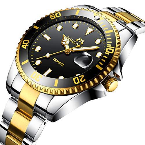 Relojes Hombre Acero Inoxidable Oro Reloj de Pulsera de Lujo Moda Impermeable Fecha Calendario Clásicos Diseño Analogicos Reloj de Cuarzo para Hombres Unisexo Negocio Casual