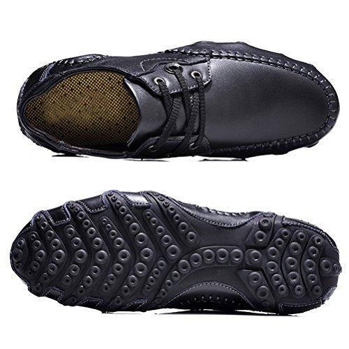 LYNE Moccasin Pour Homme, Cuir Casual Chaussure Octopus Design Casual Loafers Chaussures de Ville Urban Fait à la Main Noir Les rides