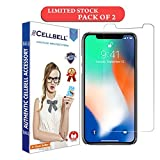 CELLBELL Apple iPhone X Screen Protector [0.3mm Strong Curved Edge Tempered Glass], Compatible with 3D Touch and Round Edge Cases-Pack of 2