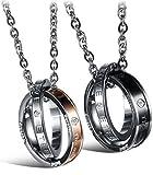 OSTAN - 'Love Eternity' 316L Edelstahl mit Zirkonia Verriegelung Doppel-Ring Ketten mit Anhänger für Paare - Neue Mode Schmuck Paare Halskette, Gold und Schwarz