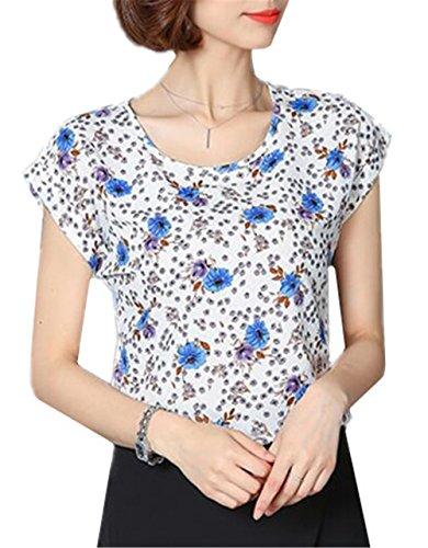 Gogofuture Moda Donne T-Shirt Estate Stampato Casual Maglietta Maniche Corte Shirt Tops Classico Multicolore Colorful5