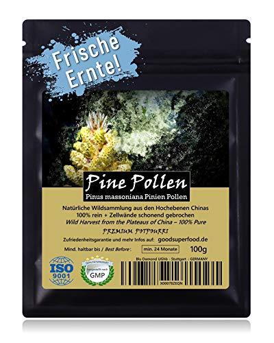 PINE POLLEN (Pinien Pollen) - Natürliche Wildsammlung | TOP-Qualität vom NR.1-Original | 100% rein + laborgeprüft auf Schadstoffe | GMP + ISO-9001 zertifiziert | frisch geerntet | roh vegan | 100g - Pine Körper