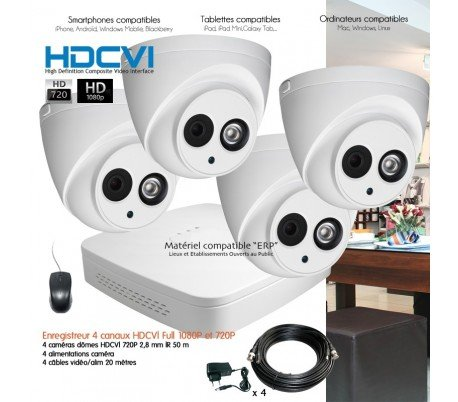 HD-CVI--Sistema-de-Video-Vigilancia-HDCVI-con-4-Cmaras-cpula--kit-d23--4-x-3319--sin-disco-duro