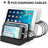 Aizbo USB Charging Station, 8-Port Multiple Device Charging Dock Desk Organizer Detachable Charge Station, 50W 2.4A Universal Fit Android /Multiple Device / Smartphones / Tablets (8 Cables Included)