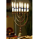 Golden Menorah With Burning Candles Hanukkah Journal: 150 Page Lined Notebook/Diary