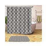 Knbob Gardinen Duschvorhang Blumenmuster Weiß Grau Shower Curtain 180X180CM mit Duschvorhangringen Wohnaccessoires