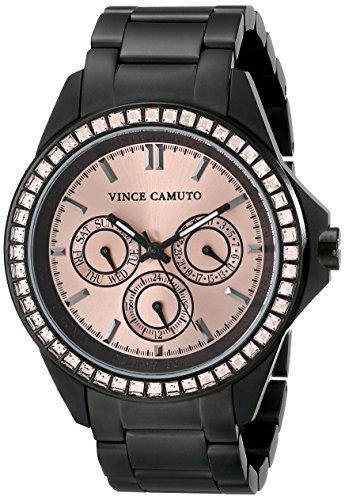 Vince Camuto Dorado para Mujer reloj infantil de cuarzo con esfera analógica y negro correa de acero inoxidable de VC-5087RGBK