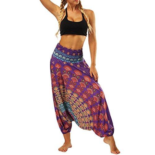 Sarouel de Yoga Imprimé Floral Été Taille Unique Femme,Overdose Décontracté Jogging Trousers Style Baggy Survêtement Danse Costume (Taille Unique, Violet-1)