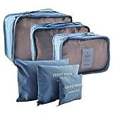 Organisateurs De Bagages, Finer Shop Lot de 6 Pièces Sac de Vêtement Organiseurs D'un Voyaged Packing Cubes d'Emballage Idéal pour Voyage D'équipe ou Famille - Bleu Marine