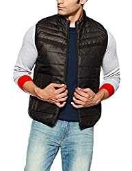 Jack & Jones Mens Quilted Synthetic Jacket (1968556003_Black_Large)