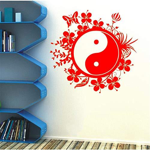 Wandtattoo Chinesischen Stil Vinyl Aufkleber Tai Chi Philosophie Butter Blume Schlafzimmer Wohnzimmer Haus Dekoration Dekor 42 * 48 cm - Anker-butter