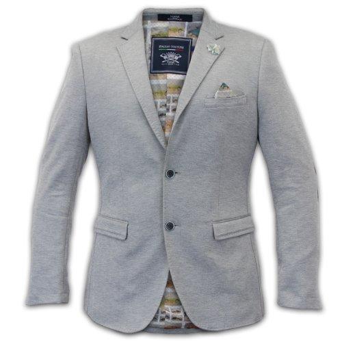 Uomo Voeut Giacca Cappotto Giacca Formale Completo Elegante Camoscio Toppe DESIGN Foderato Nuovo Grigio chiaro