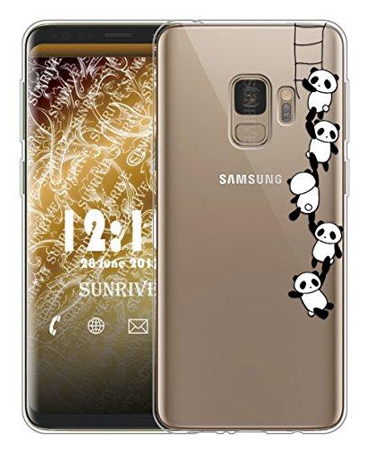Galaxy S9 Hülle Silikon, Transparent Handyhülle Schutzhülle Etui Case Backcover für Samsung Galaxy S9 5,8 Zoll(TPU Panda 1)+Gratis Universal Eingabestift ()