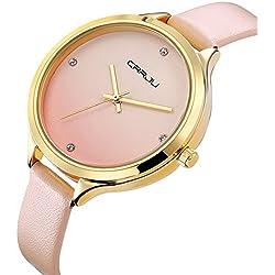 Armbanduhr für Mädchen Damen Forepin® Modisch Kristall Quarzuhr Uhr mit Leder Armband Uhren Rosa