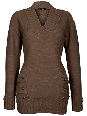 Love My Fashions® Womens Ladies Full Length 14 Button V-Neck Knitted Jumper Dress