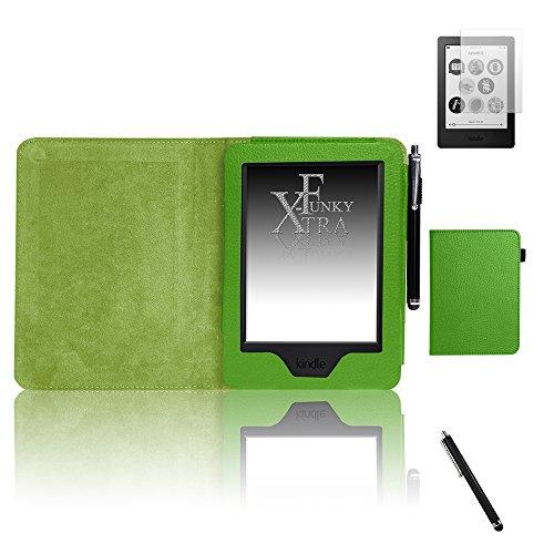 mpatibel mit Kindle Touch 7. Gen (2014 Modell), PU Ledertasche Brieftasche mit Selbstschlaf/Weckservice-Funktion, enthält Displayschutzfolie und Schreibkopf - Grün ()