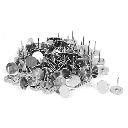 sourcingmap® 120stk Möbel Metall runde flache Kopf Polsterung Tack Nagel Silber Ton 15mm Dmr Tack Ton
