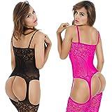 LOVELYBOBO 2-Pack Damen Unterwäschen Reizwäsche Netz Strumpfhose Bodystockings Jumpsuit Frauen Bodysuit Nachtwäsche Dessous (Schwarz+Rosa)