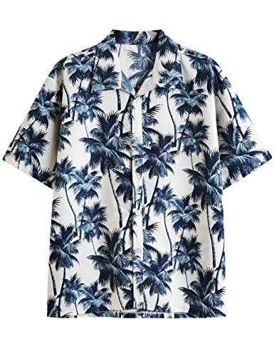 Pinkpum Funky Hawaiihemd | Herren | Kurzarm | Hawaii-Print | Strand Palmen Meer Blumen Blätter Sommer | Verschiedene Designs Weiß L -