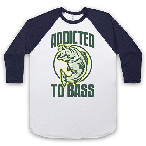 Addicted To Bass Bass Fish 3/4 Hulse Retro Baseball T-Shirt Weis & Ultramarinblau